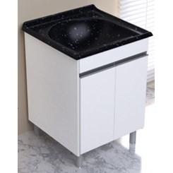 Armário Com Tamque Amélia  61,5X61cm Branco/Pedra Escura