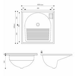 Armário Com Tanque Amélia  61,5X61cm Branco/Pedra Gelo