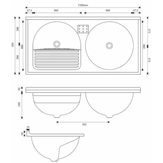 Armário Com Tanque Amélia Duplo 110X55cm Branco/Pedra Gelo