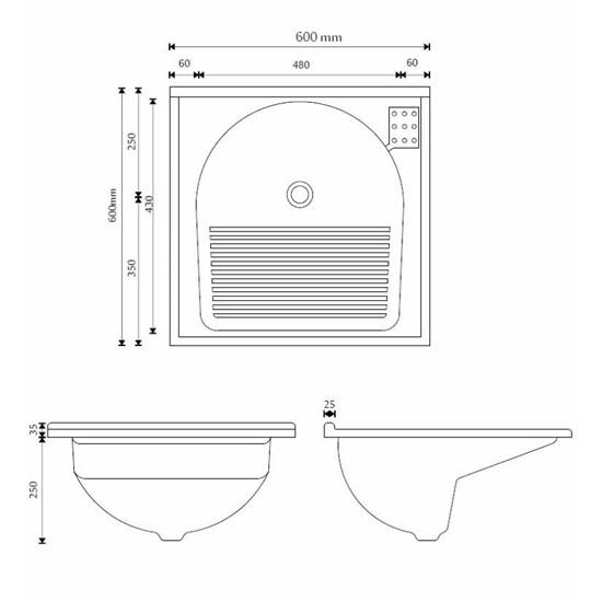 Armário Kit Com Tanque Amélia  61,5X61cm Branco/Pedra Escura
