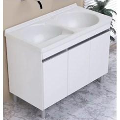 Armário Kit Tanque Amélia Duplo 110X55cm Branco/Pedra Gelo