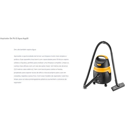 Aspirador De Pó E Água Aqp20 Electrolux Preto Amarelo