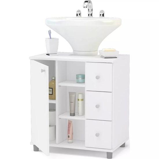 Balcão Banheiro 3 Gavetas Politorno Branco