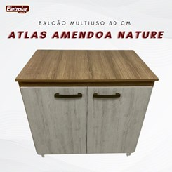 Balcão Multiuso 80 Cm Atlas Amendoa Nature