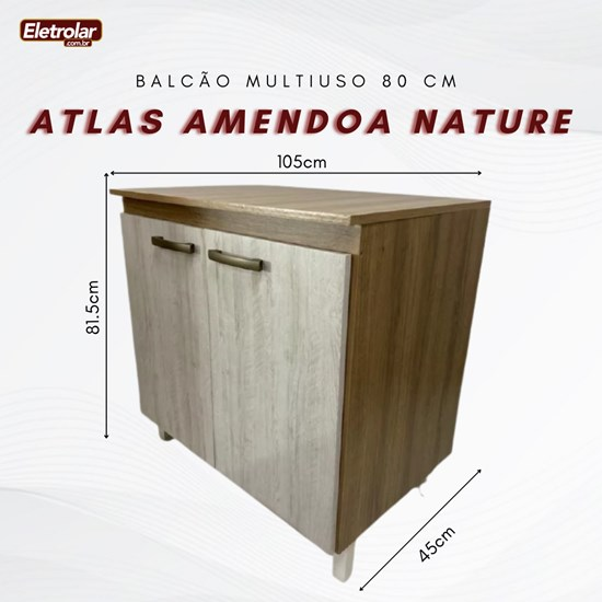 Balcão Multiuso 80 Cm Atlas Móveis Sul Amendoa Nature