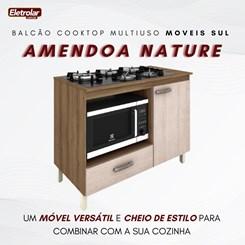 Balcão Multiuso Cooktop Roma Moveis Sul Amendoa Nature