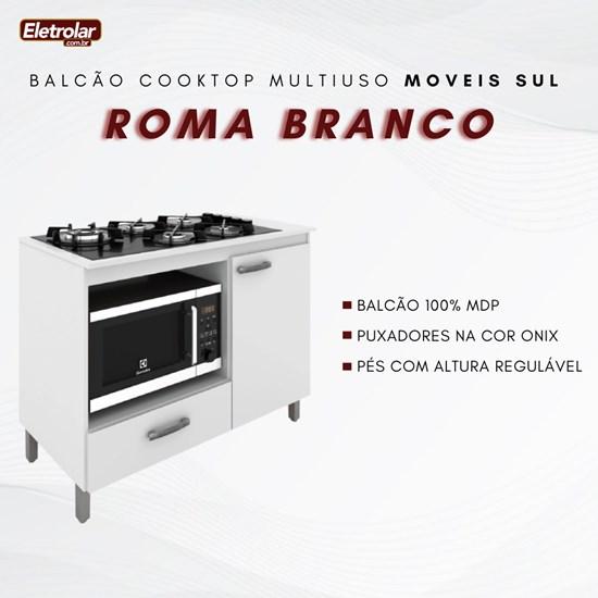 Balcão Multiuso Cooktop Roma Moveis Sul Branco