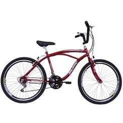 Bicicleta Aro 26 Beach Masculina 18V Vermelho