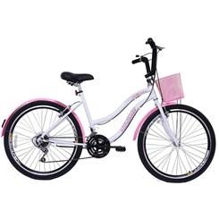 Bicicleta Aro 26 Beach Retrô Feminin 18M Branco