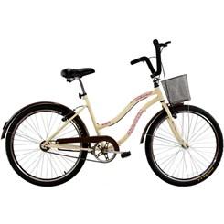 Bicicleta Aro 26 Beach Retrô Feminina Bege