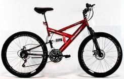 Bicicleta Aro 26 Full Susp Max 18Marchas Vermelho
