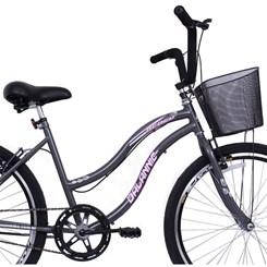 Bicicleta Aro 26 Long Beach Feminina Grafite