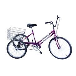 Bicicleta Aro 26 Triciclo Câmbio V Break Roxa