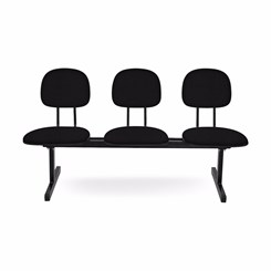 Cadeira Longarina 3 Lugares Secretária Preto