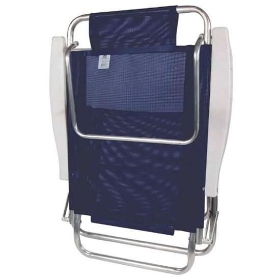 Cadeira Reclinável Alumínio 6P Fashion Azul Marinho