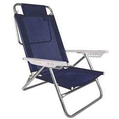 Cadeira Reclinável Alumínio 6P Summer Azul Marinho