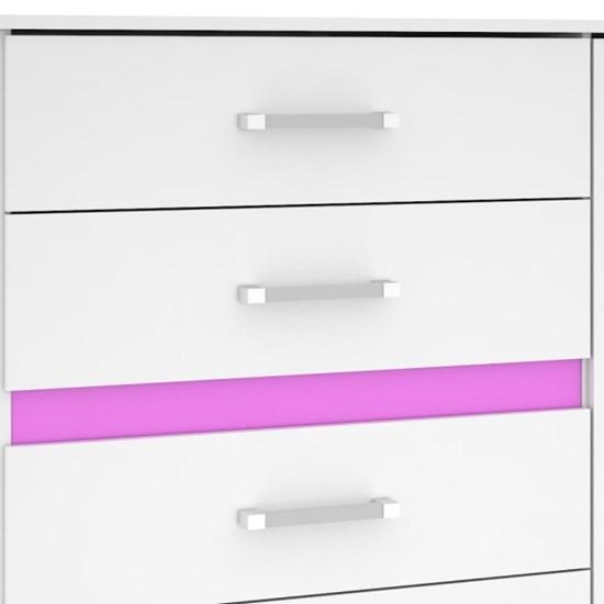 Cômoda 1 Porta 4 Gavetas Florence Max Branco Azul Pink