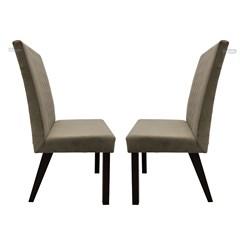 Conjunto 2 Cadeiras Com Encosto Estofado Veludo Creme