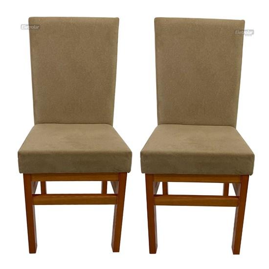 Conjunto 2 Cadeiras Encosto Estofado Aris Canela Tecido Suede Cacao