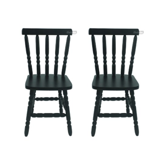Conjunto 2 Cadeiras Torneada Madeira Maciça Tabaco