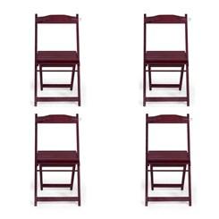 Conjunto Com 4 Cadeiras Dobrável Madeira Maciça Imbuia