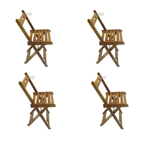 Conjunto Com 4 Cadeiras Dobrável Madeira Maciça Mel