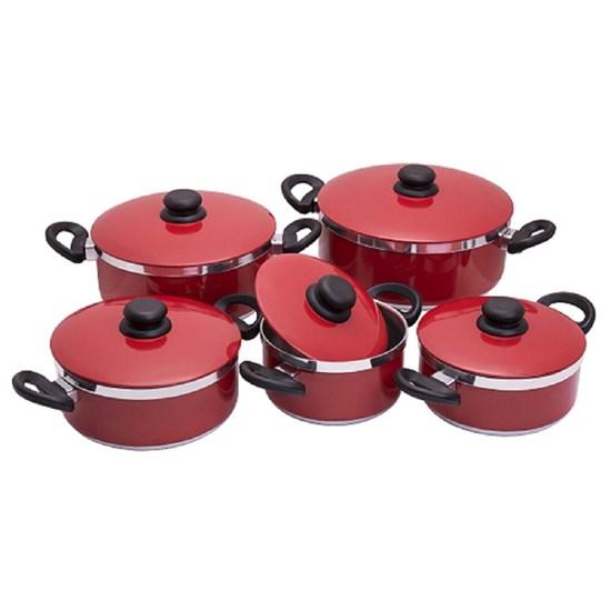 Conjunto De Caçarolas 5Pçs Mega Alumínio Vermelho
