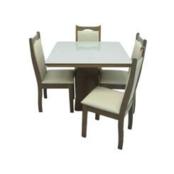 Conjunto De Mesa Eubeia Com Tampo De Vidro Nude 4 Cadeiras Eubeia Em Tecido Facto 90 X 90 Cm