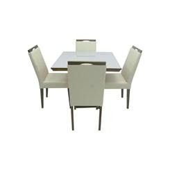 Conjunto De Mesa Eubeia Com Tampo De Vidro Nude 4 Cadeiras Lemnos Em Tecido Facto 90 X 90 Cm