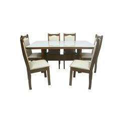 Conjunto De Mesa Lemnos Com Tampo De Vidro Nude + 6 Cadeiras Eubeia Em Tecido Facto 1,60 X 90Cm