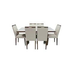 Conjunto De Mesa Lemnos Com Tampo De Vidro Nude + 6 Cadeiras Lemnos Em Tecido Facto 1,60 X 90 Cm