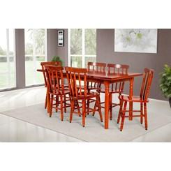Conjunto De Mesa Mônaco 1.60 Mts Com 6 Cadeiras Torneada