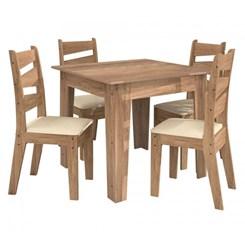 Conjunto Isis Mesa 90 X 90 Cm 4 Cadeiras Avelã