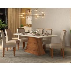 Conjunto Mesa Com 6 Cadeiras Ravena 170X90cm Canto Curvo.