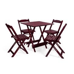 Conjunto Mesa Dobrável 4 Cadeiras Pellas Imbuia