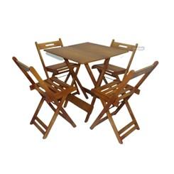 Conjunto Mesa Dobrável 4 Cadeiras Pellas Mel