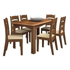 Conjunto Monique 1,56Mts Com 6 Cadeiras Amendoa