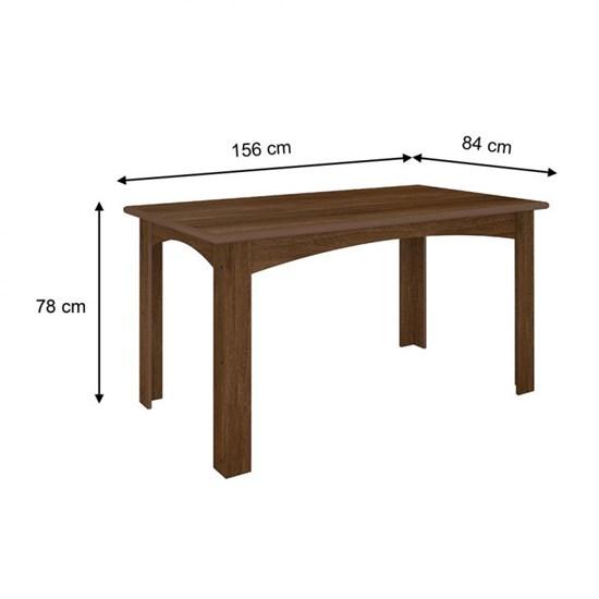 Conjunto Monique Com 6 Cadeiras 1,56Mts Amendoa