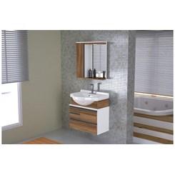 Conjunto Para Banheiro Firenze 63.5Cm Branco/Nogal Sevilha
