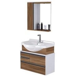 Conjunto Para Banheiro Firenze 83,5 Cm Branco/Nogal Sevilha