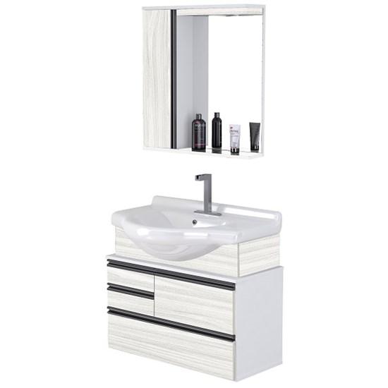 Conjunto Para Banheiro Firenze 83,5 Cm Branco/Palissandro A
