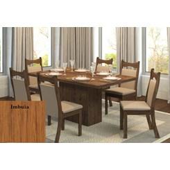 Conjunto Sala Tróia Com 6 Cadeiras Pluma Imbuia Linho/Ameixa