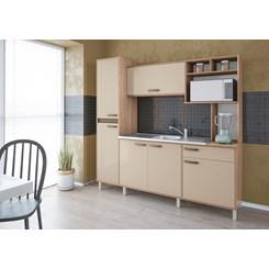 Cozinha Compacta Alana Móveis Sul Salmão/Nude