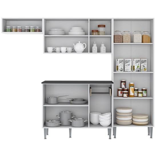 Cozinha Compacta Coimbra 4Pc Multimóveis Bc/Lacca Fume/Tp Pt
