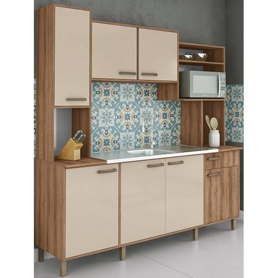 Cozinha Compacta Luana Móveis Sul Amendoa/Nude