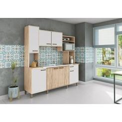 Cozinha Compacta Luana Móveis Sul Freijó/Branco