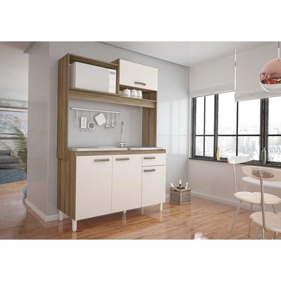 Cozinha Compacta Yasmim Móveis Sul Amendoa Off White