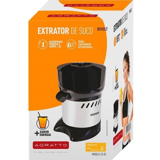 Extrator De Suco 300W Agratto Preto/Inox