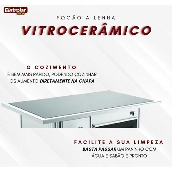 Fogão A Lenha Nr 1 Direito Vitrocerâmico Inox