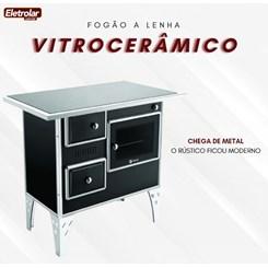 Fogão A Lenha Nr 1 Direito Vitrocerâmico Preto